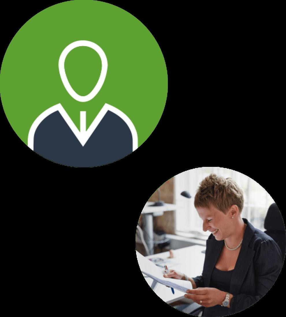 Samlad illustration med två cirklar. Ikonen för Strategiskt och operativt stöd (grön cirkel med en siluett av en person) samt en cirkel med fotografi på en av Efforts medarbetare.