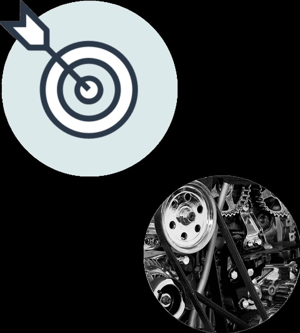Ikonen för nulägesanalys (ljusblå cirkel med en måltavla i) samt en cirkel med fotografi i närbild på en motor.