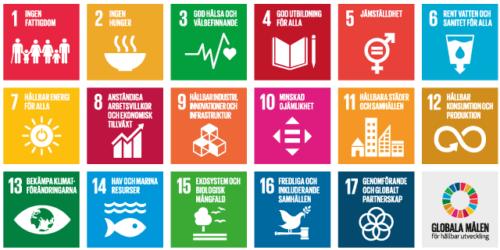 Illustrationssammanställningen av De globala målen där de 17 olika områdena visualiseras.