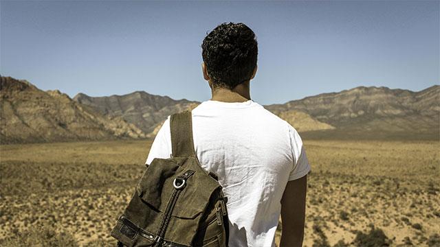 Fotografi på en man med ryggsäck bakifrån, blickandes ut över ett ökenlandskap med berg som höjer sig i horisonten