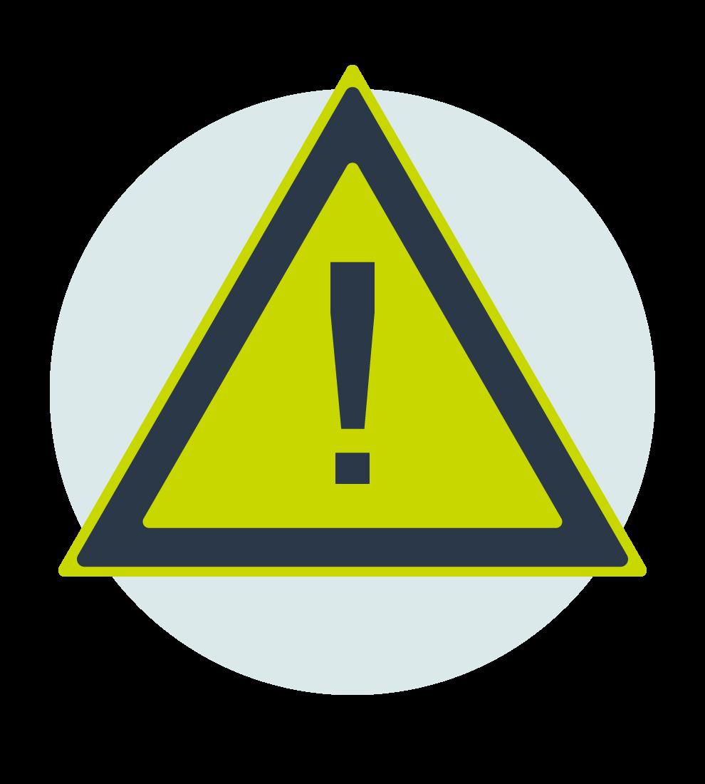 Illustration med en varningsskylt med ett utropstecken i mitten, bakgrundscirkel i ljusblått.