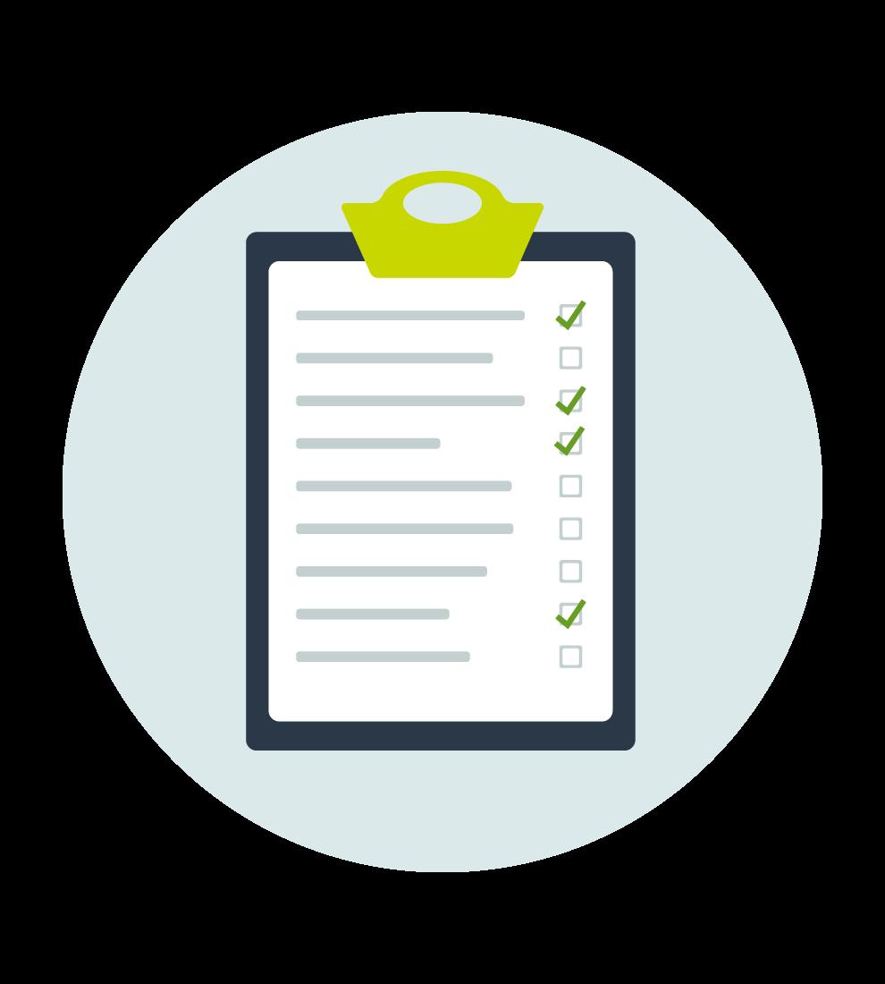 Illustration med en skrivbräda med en checklista på där några punkter är avprickade med en grön bock.
