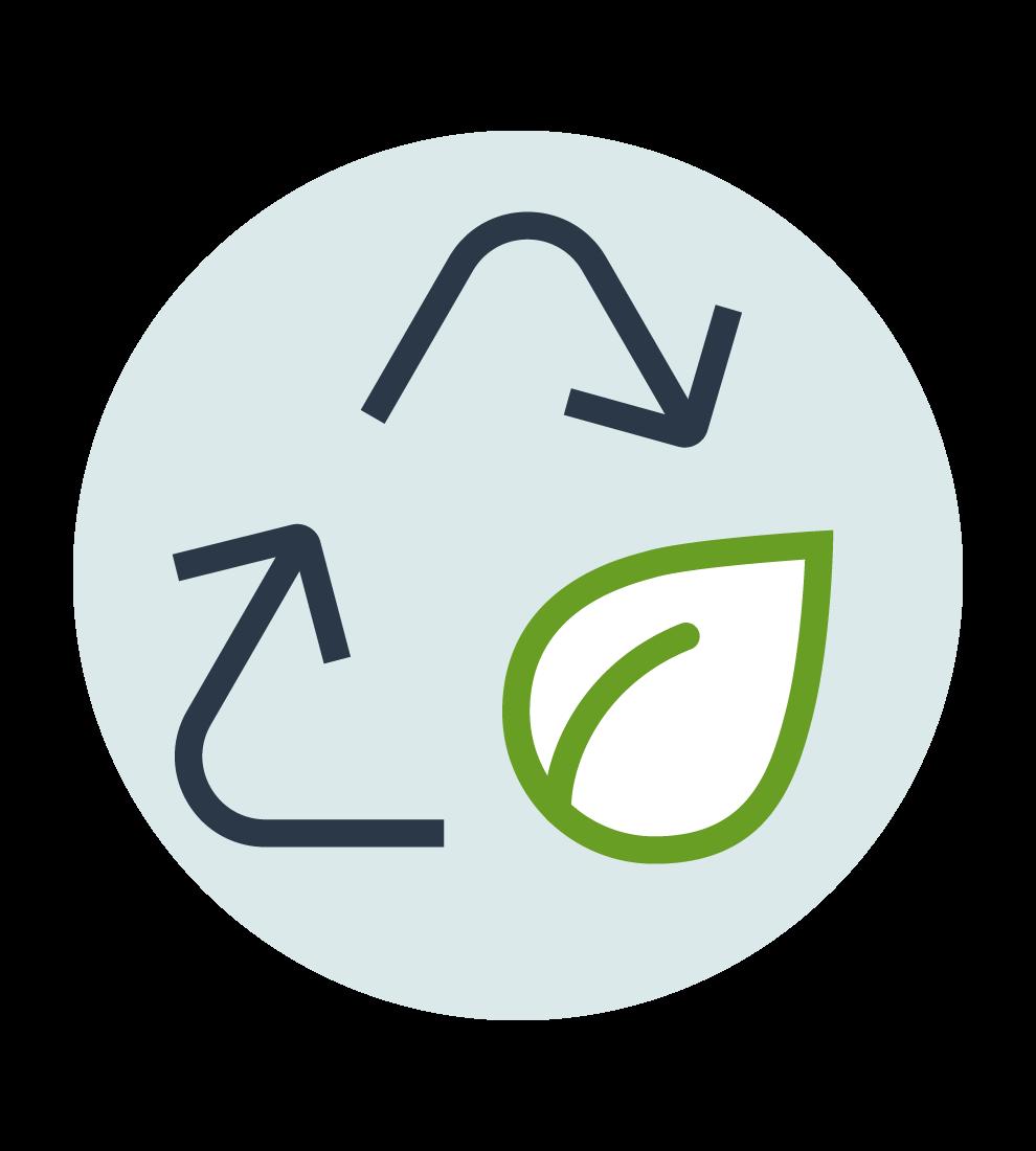 Illustration med en återbrukssnurra med två pilar och ett löv i nedre högra hörnet. Ljusblå, rund basplatta.