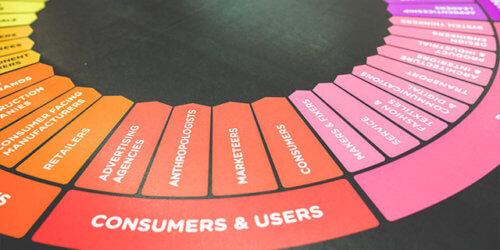 """Närbild på intressenter grupperade i olika färger mot svart bakgrund. I fokus visas en gruppering av """"kunder och användare"""""""