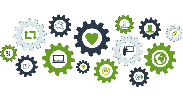 Illustration med flera kugghjul i olika storlekar med ikoner i kugghjulens centrum. Ikoner så som hjärta, personsiluetter, förstoringsglas, jordglob, tårtdiagram med mera.