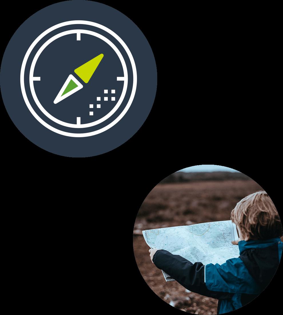 Collage av avsnittets ikon med en kompass på en mörkblå bascirkel samt ett runt fotografi med en pojke som står och läser på en papperskarta.