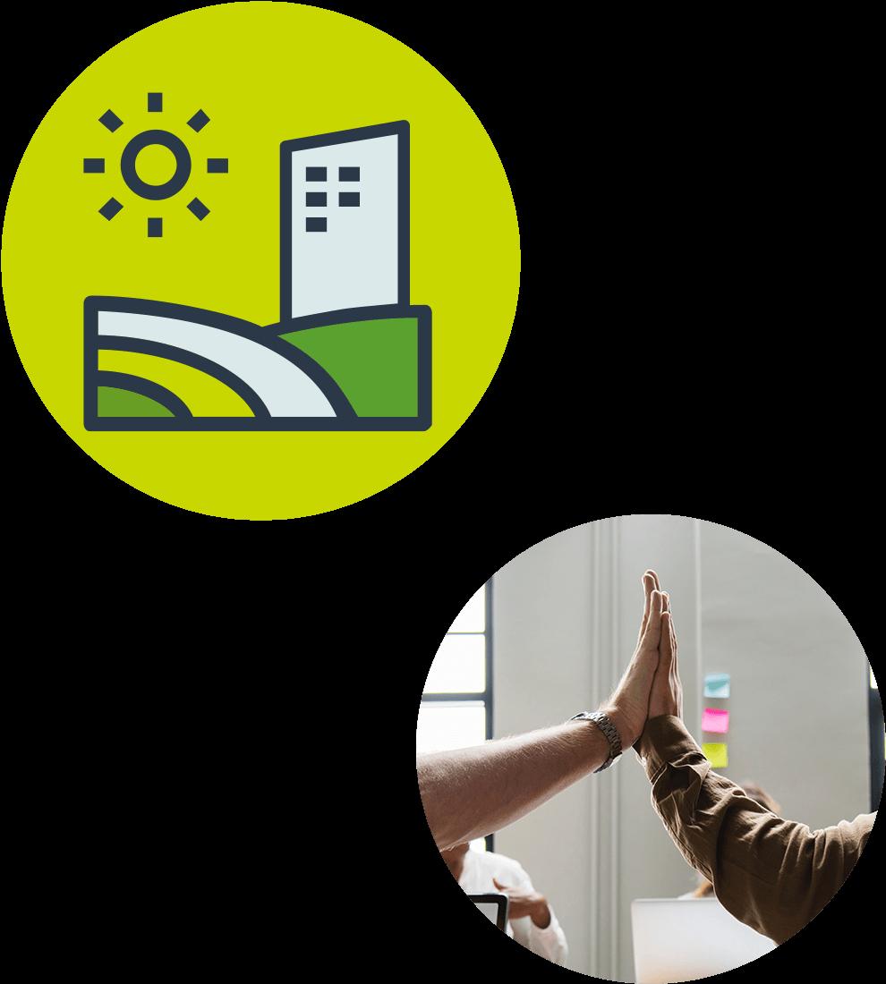 Collage av avsnittets ikon med en sol, ett höghus och olikfärgade slätter på gulaktig bascirkel samt ett runt fotografi där 2 individer gör en high-five.