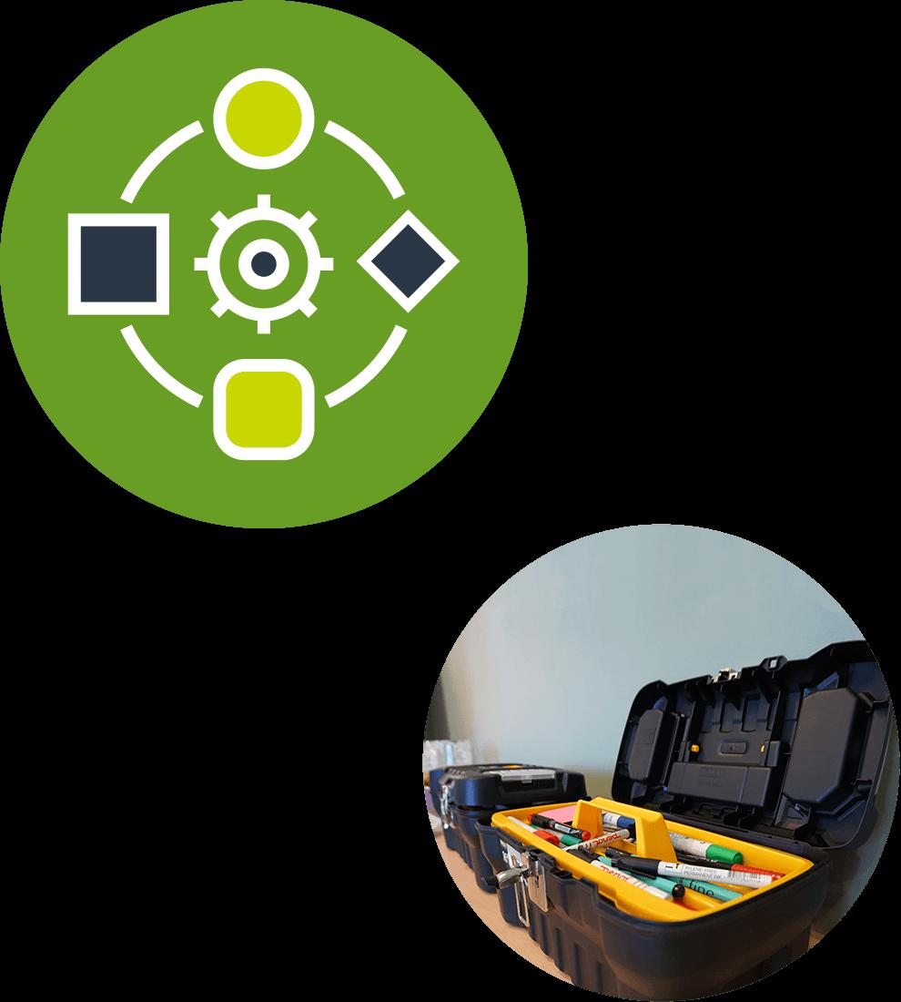 Collage av avsnittets ikon med ett kugghjul och fyra former runtomkring på en grön bascirkel samt ett runt fotografi på en workshopsverktygslåda innehållande pennor i olika slag.