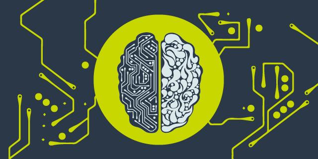 Illustration på en hjärna mot en gul bakgrundscirkel med synapser som går ut mot en mörk bakgrund.
