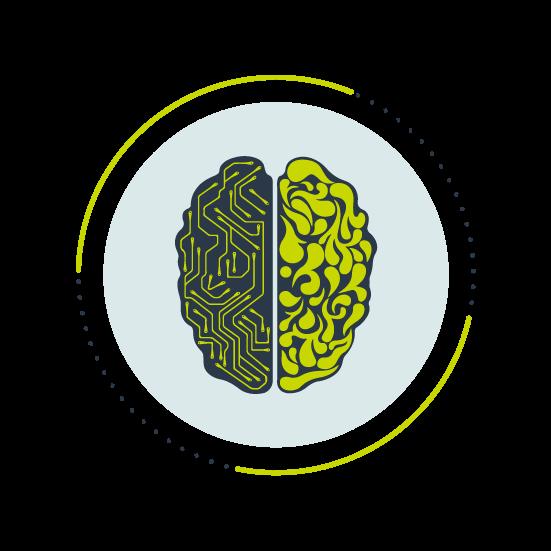 Cikelikon med en hjärna uppefrån varav vänstra halvan har raka kopplingar, högra halvan har mjuka former